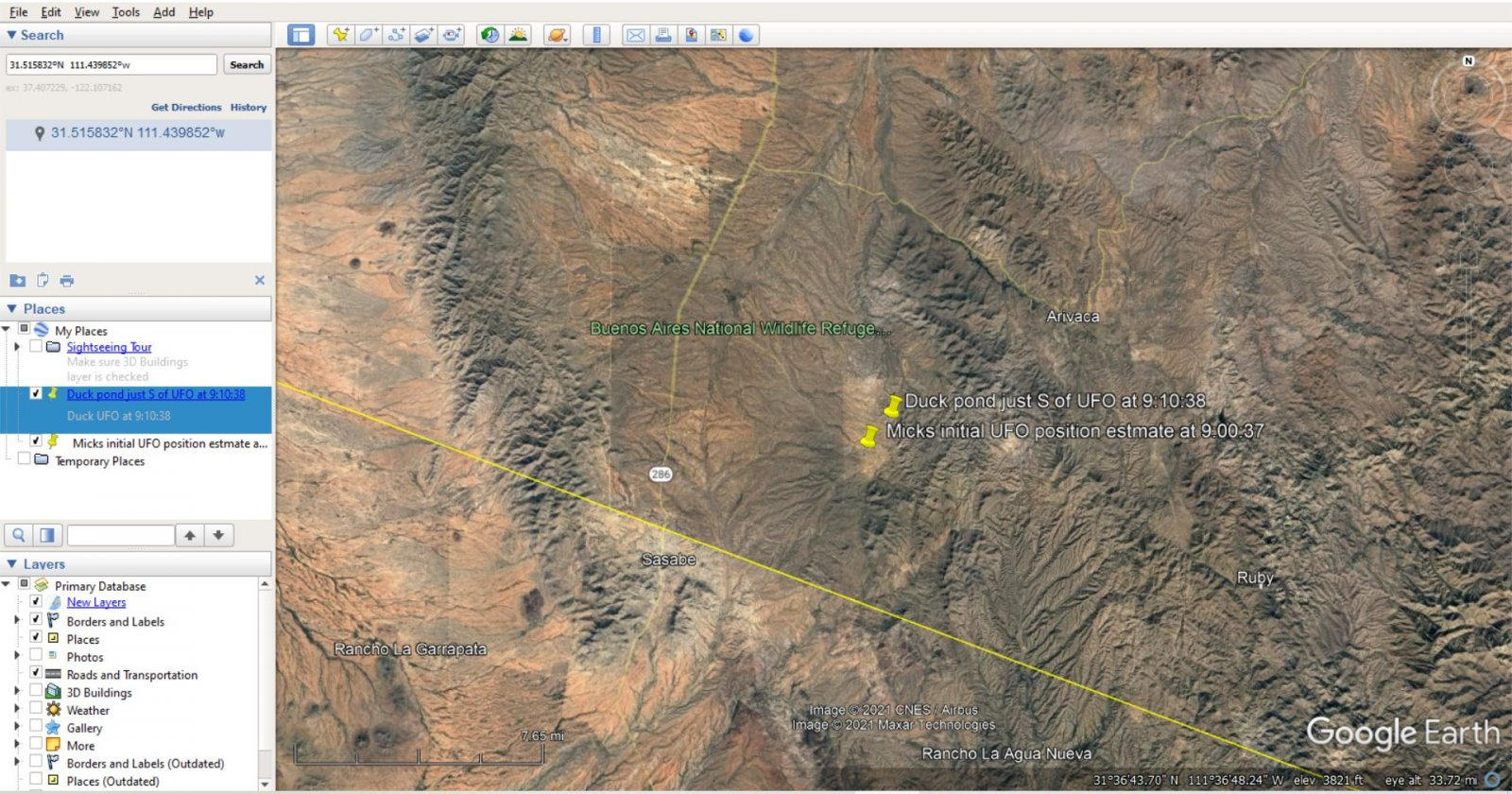 google earth duck UFO ten minutes mick to duck pond.JPG
