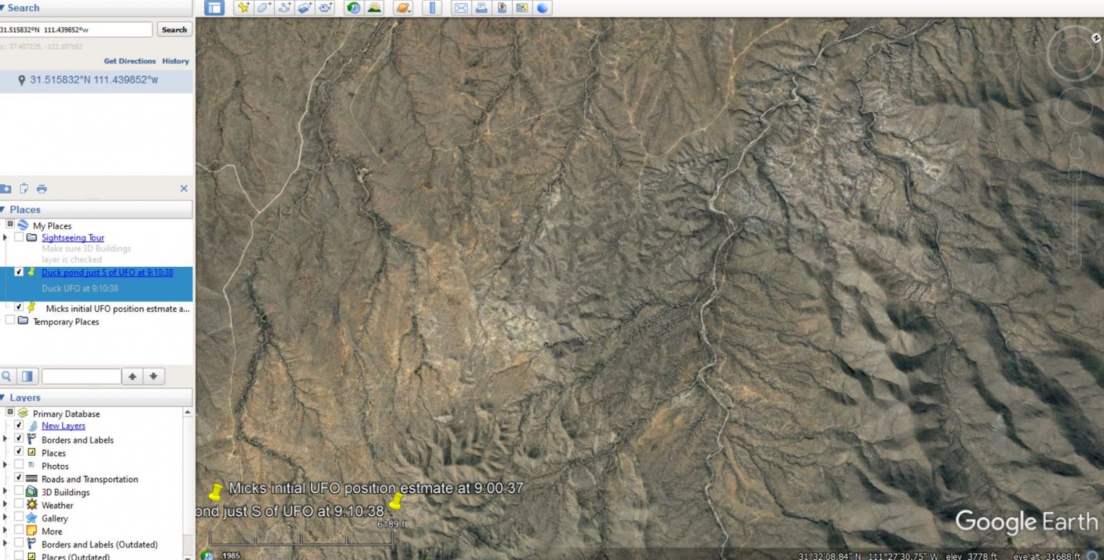 google earth measured distance between mick UFO position and Duck pond.JPG