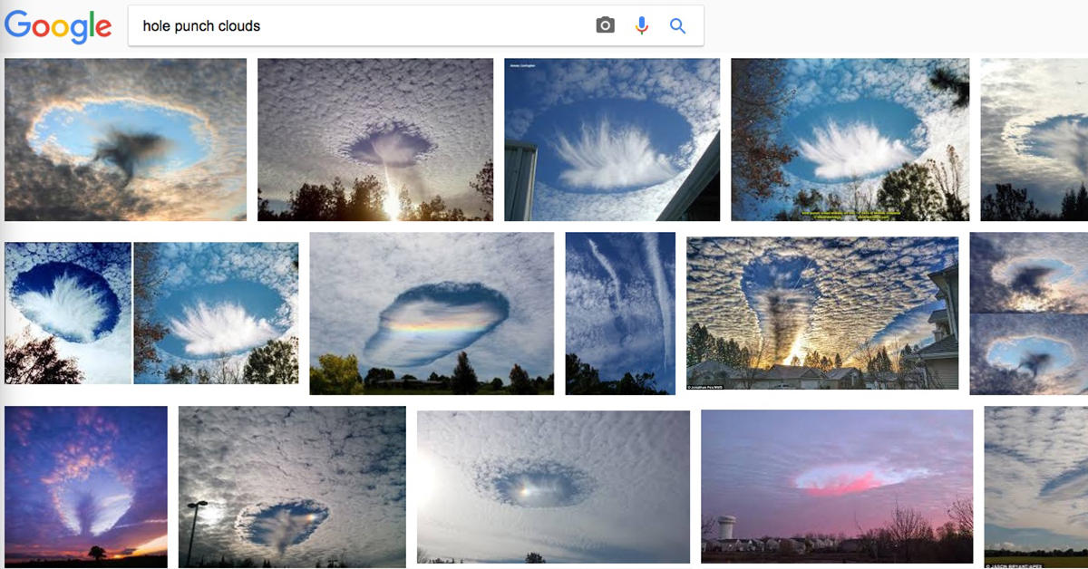Hole Punch Clouds, Canal Clouds, and Fallstreak Holes Through History