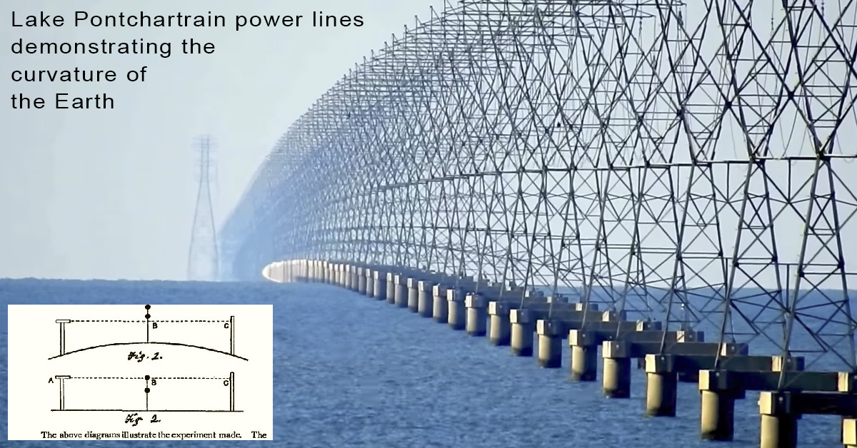 Lake Pontchartrain power lines demonstrating the curvature - Metabunk.