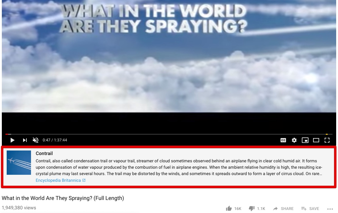YouTube adds Encyclopedia Britannica article on Contrails to