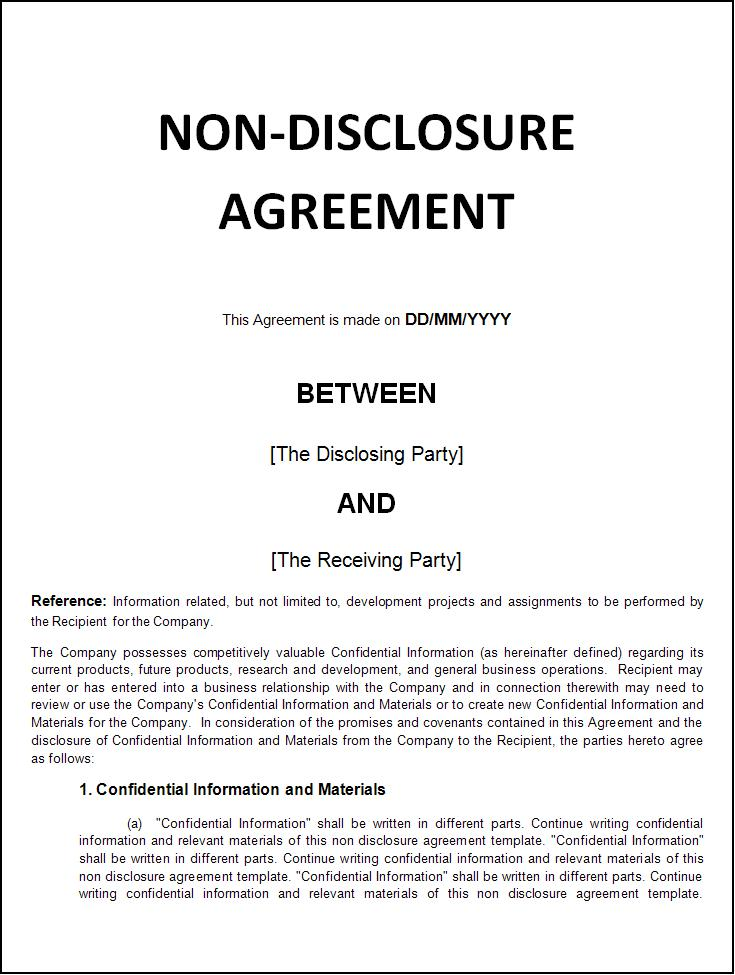 international non disclosure agreement template