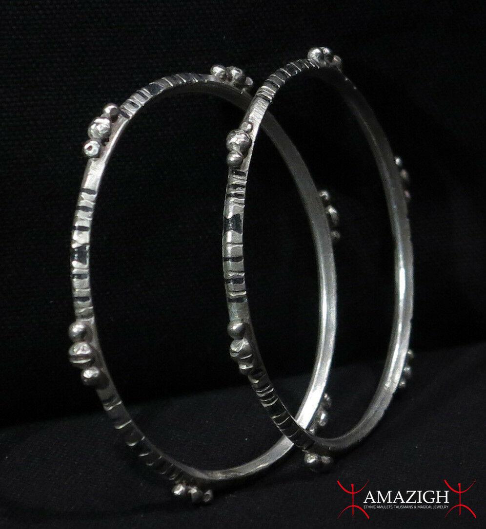 Old Pair Tuareg Bracelets - Silver, Enamel - Mauritania.jpg