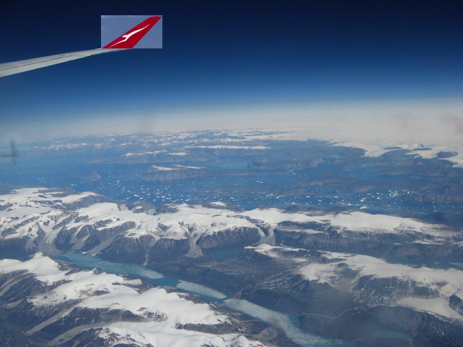 Qantas over Greenland.
