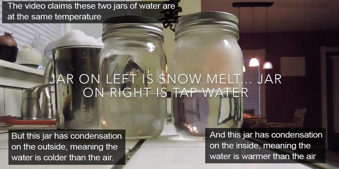 Snow and jars of water hot and cold.