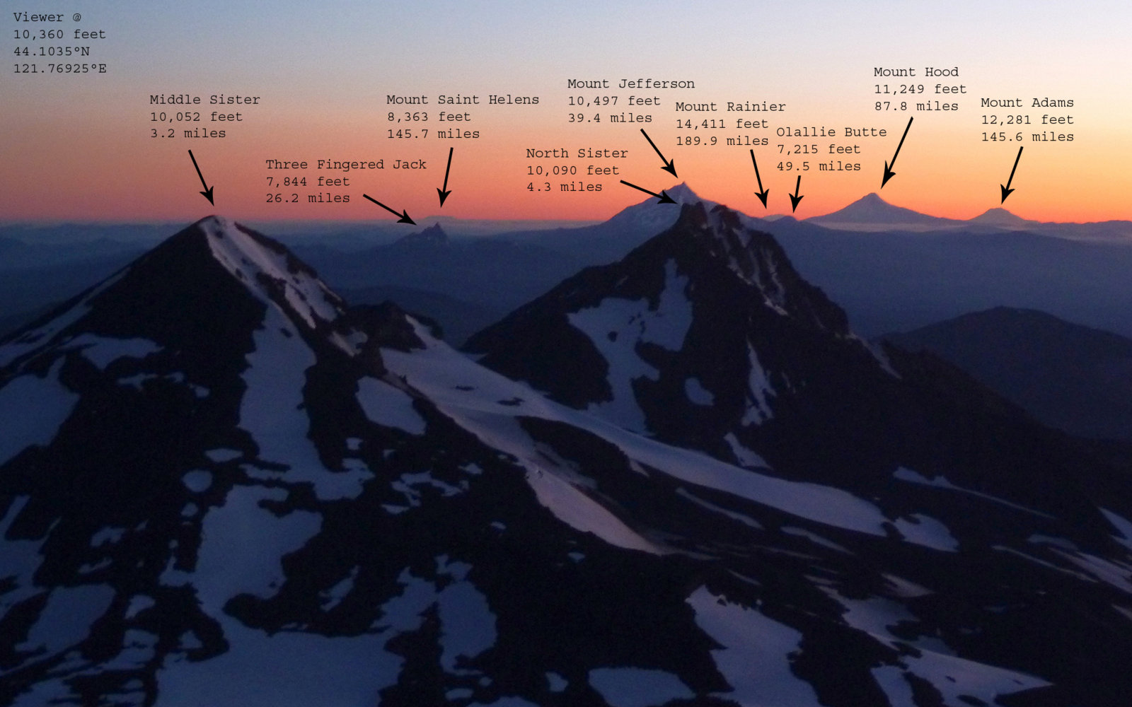 south sister sunrise labelled.