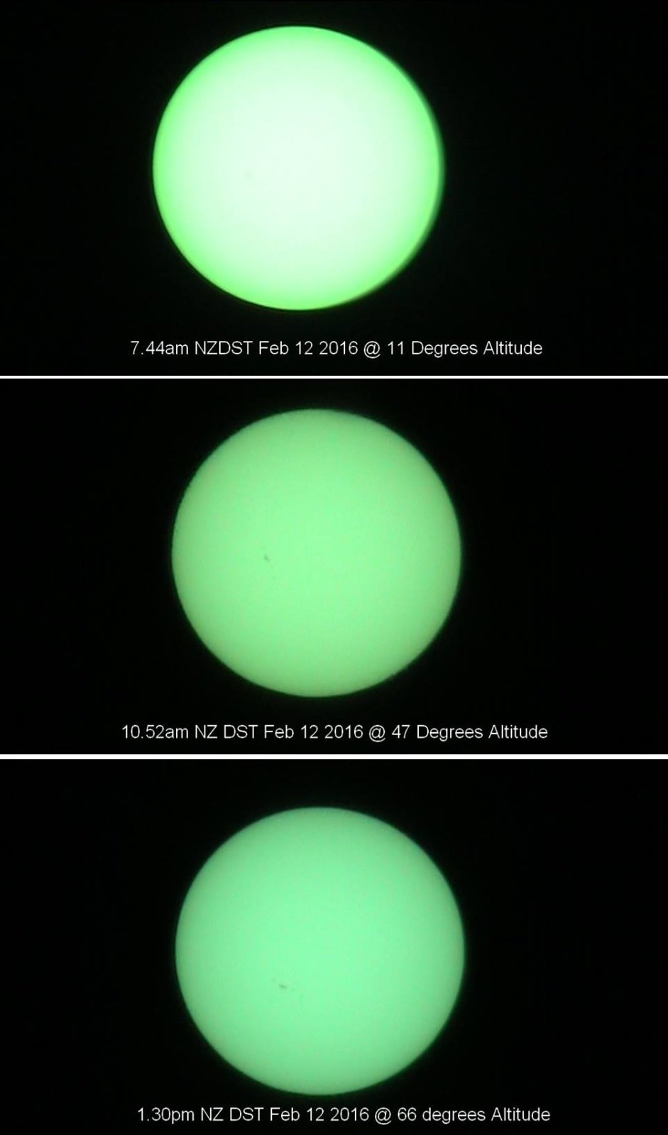 Sun at various altitudes.
