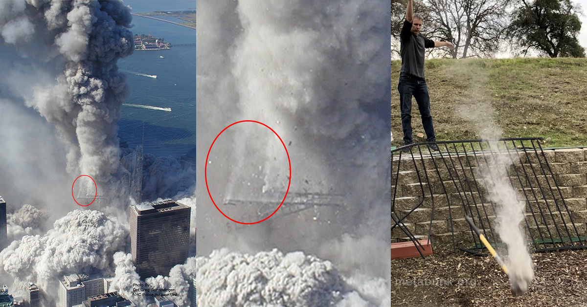 Explained Smoke Trails On 9 11 World Trade Center Falling Debris Dust Powder