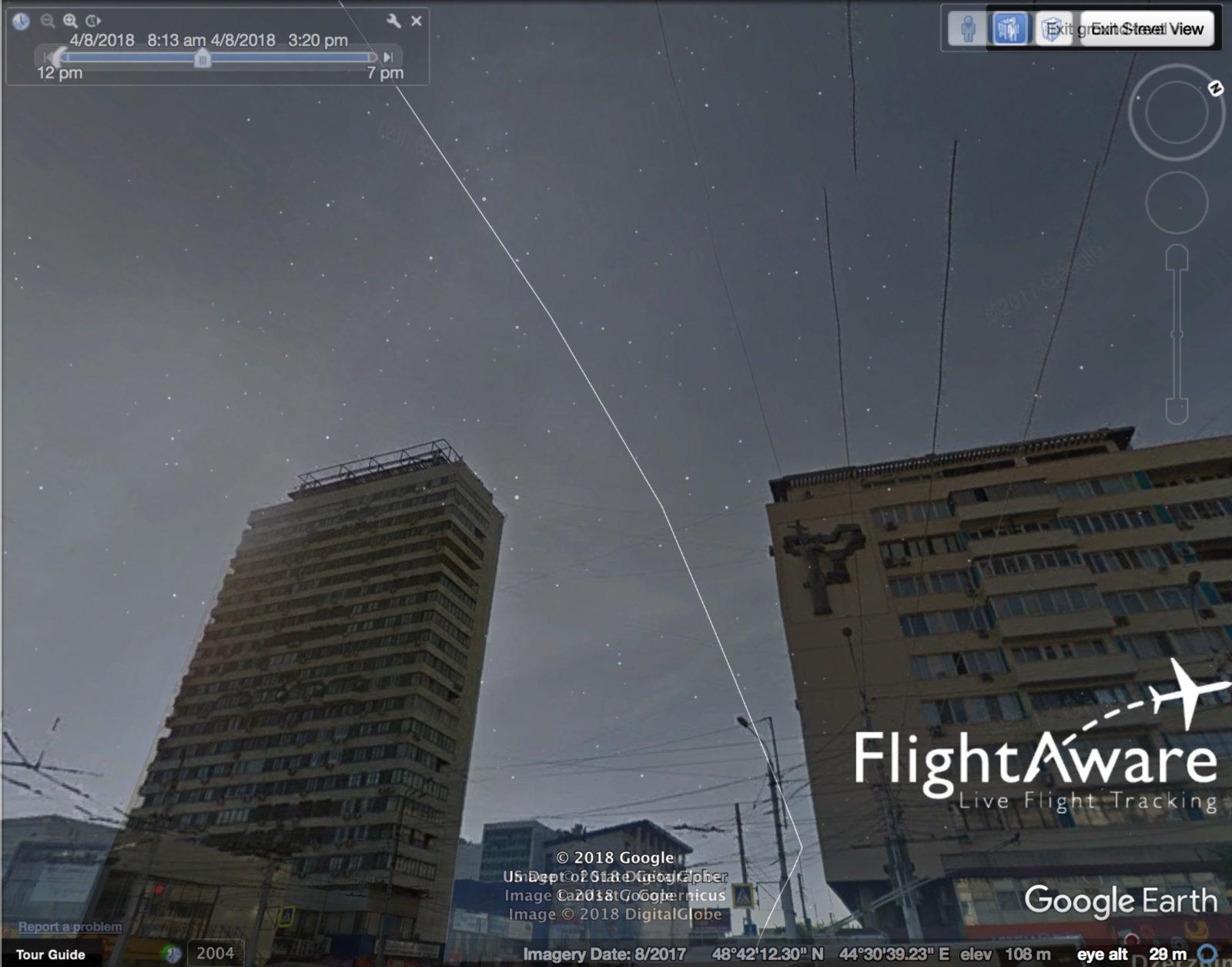 Volgograd Lufthansa A380 trail.