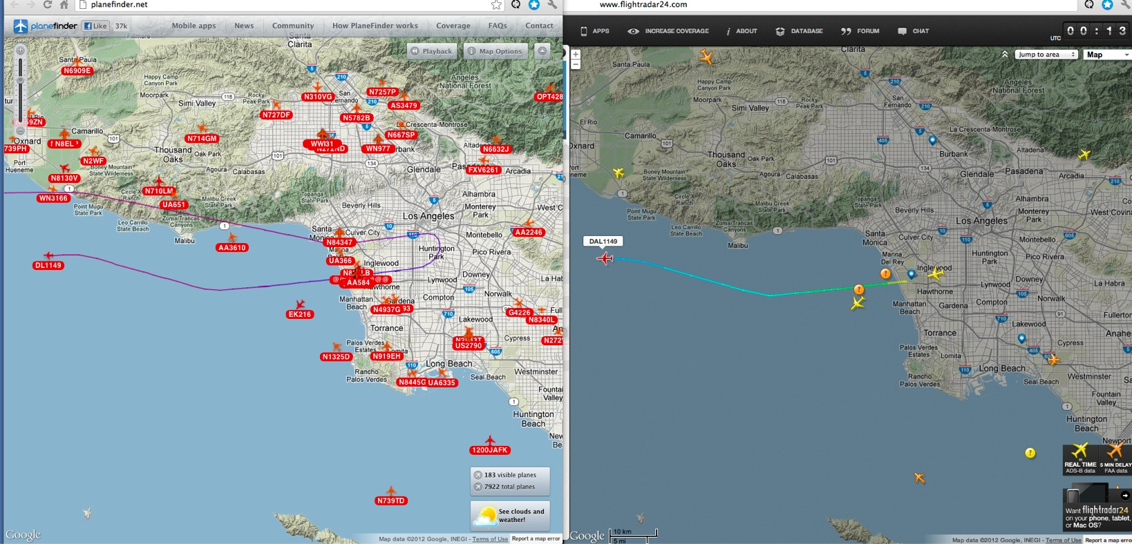 At least around los angeles flightradar24 com only displays about 1 in 10 planes where planefinder net shows a lot more