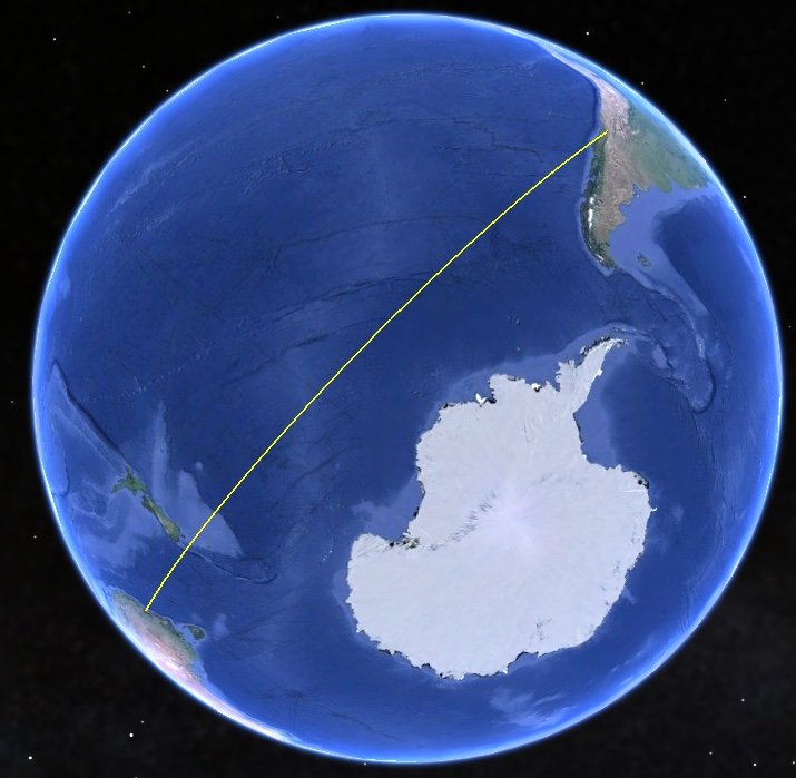 Flat earth theory debunked by short flights qf27 qf28 from santiago is the furthest south south american city with direct flights to australia there are also flights to and from new zealand gumiabroncs Gallery